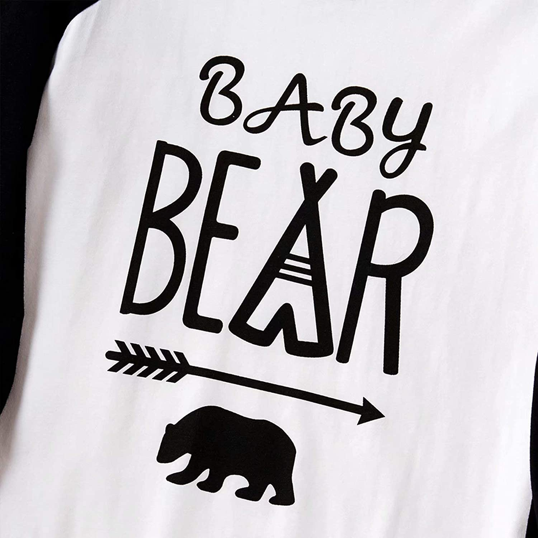 IFFEI Matching Family Pajamas Sets Christmas PJs with Bear Printed Tee and Plaid Pants Loungewear