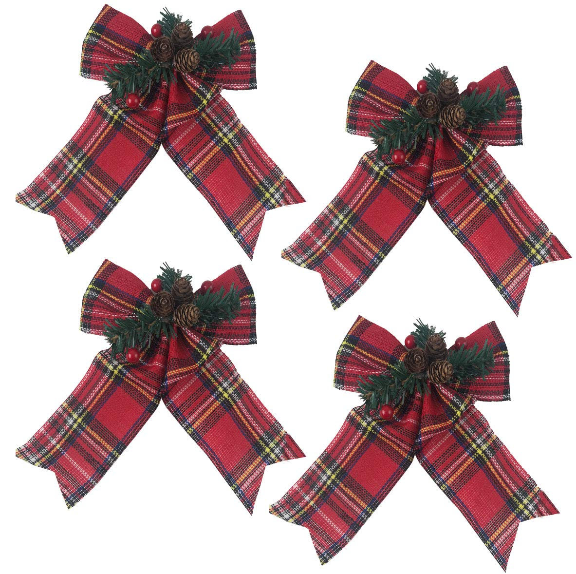HHolidays Christmas Decoration Bow Bundle Great for Tree, Decor, Crafts, Wrapping, Wreath - Set of (4) - (Red Tartan Plaid)