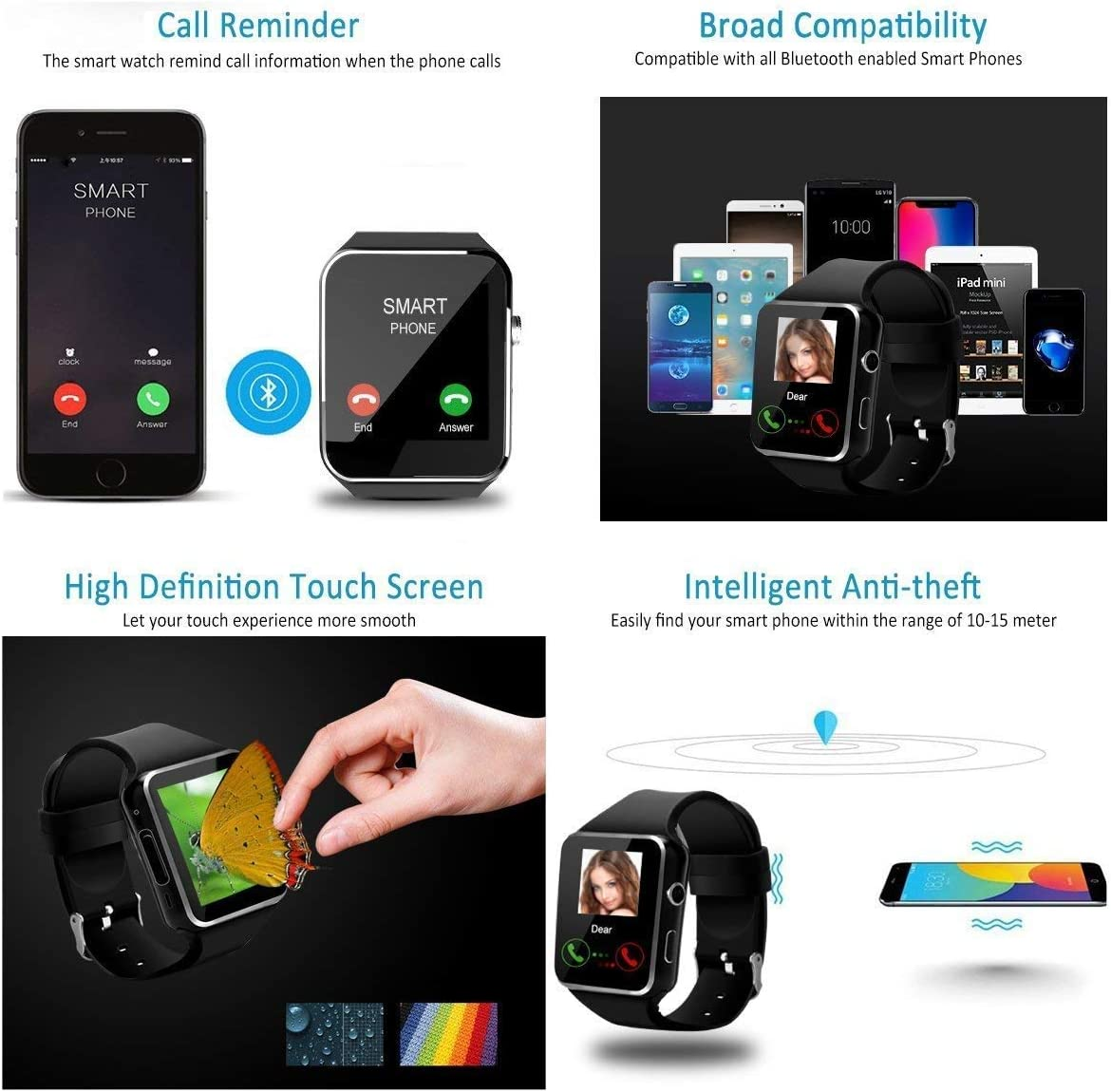 Reloj Inteligente, Android Smartwatch con Bluetooth Fitness ...