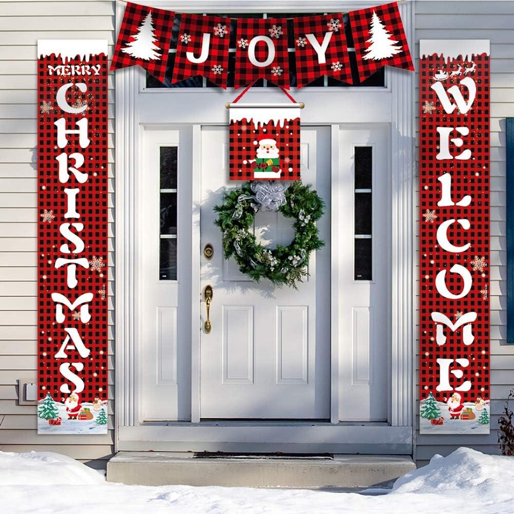 Merry Christmas Banner for Farmhouse Kitchen Decor-4 Pcs Couplet Christmas Garage Door Decorations Red Buffalo Check Plaid Porch Sign Christmas Banner Burlap