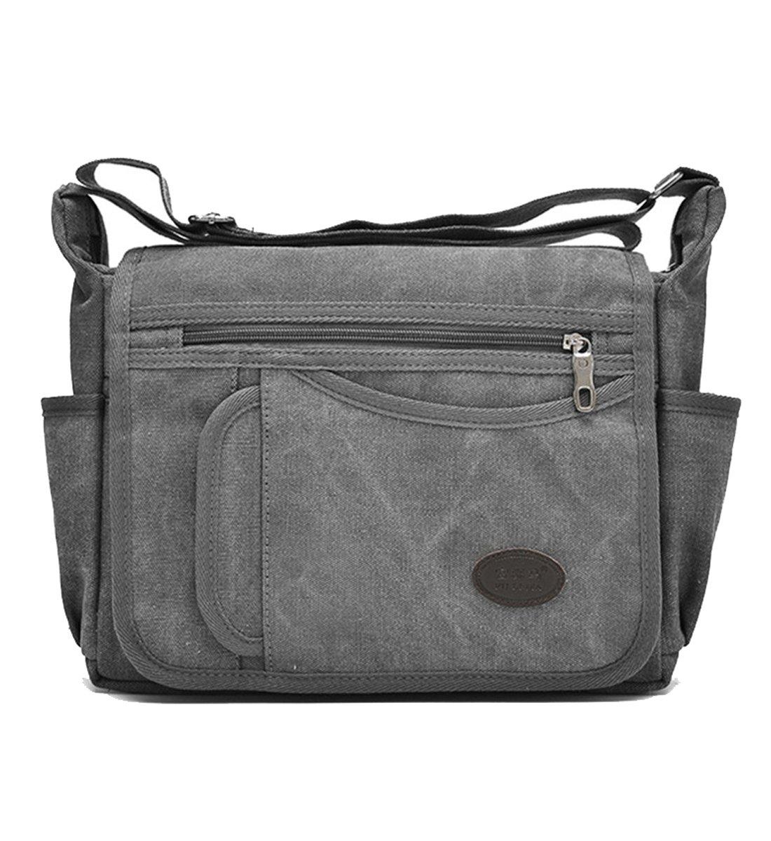 Degohome Messenger Bag Vintage Retro Canvas Business shoulder bag Crossbody Travel Bag (Normal size, gray)