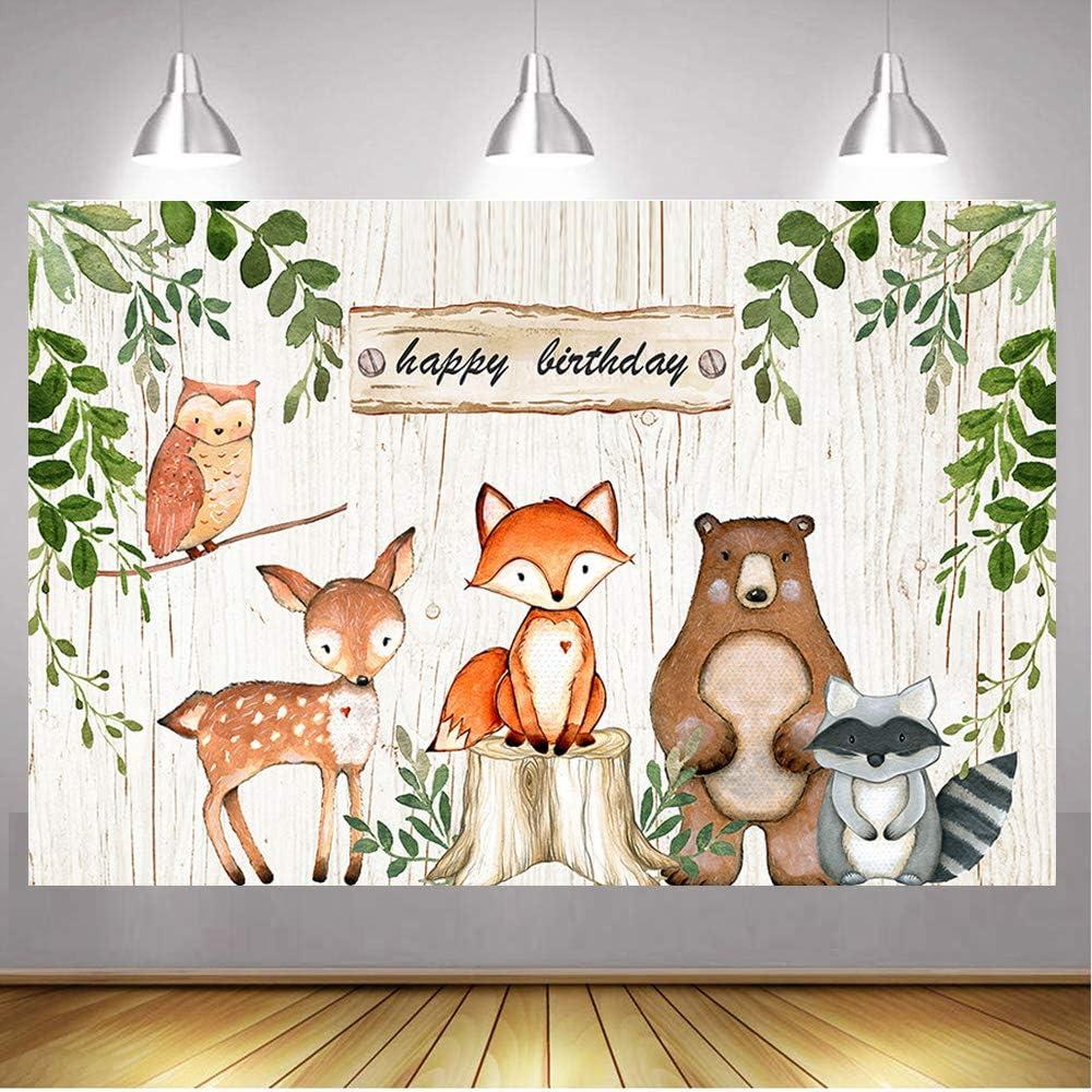 Daniu 6x4FTWoodland Baby Shower Telón de Fondo Woodland Criaturas Fiesta Fotografía de Fondo Fiesta de cumpleaños Banner Telones de Fondo