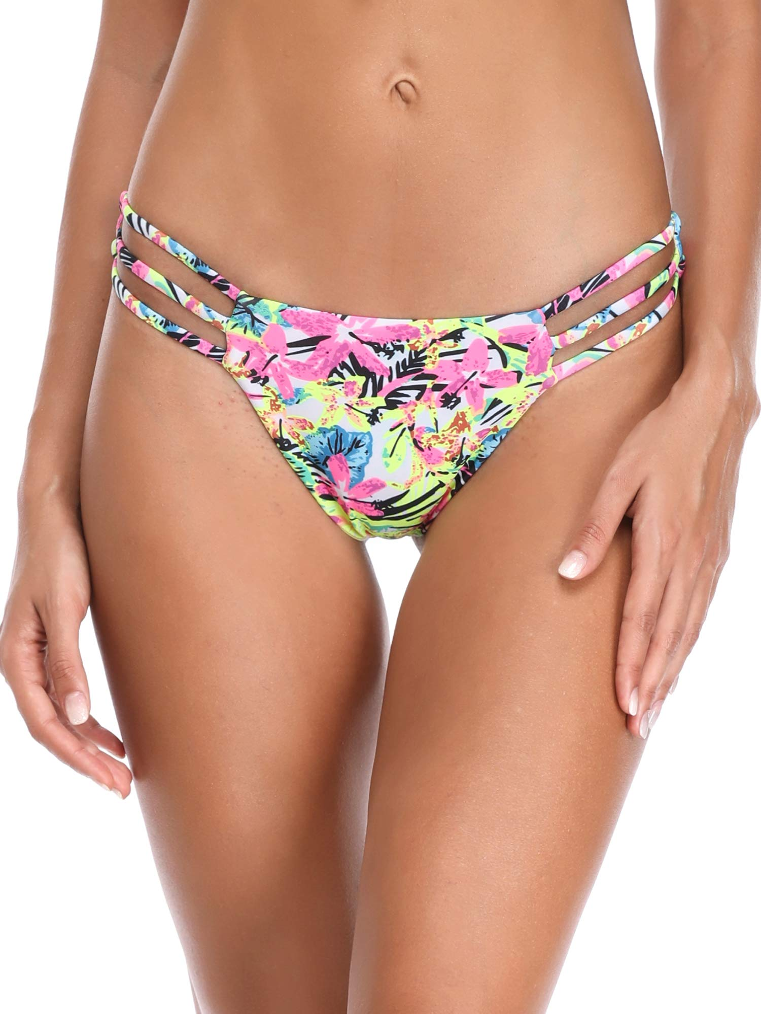 RELLECIGA Women's Jungle Triple Strappy Bikini Thong Bottom Size Small by RELLECIGA (Image #3)