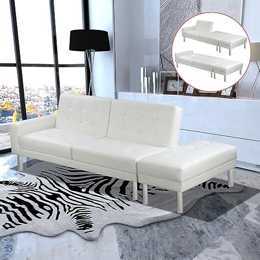 SENLUOWX Sofá Cama Piel sintética Blanca Material Color ...
