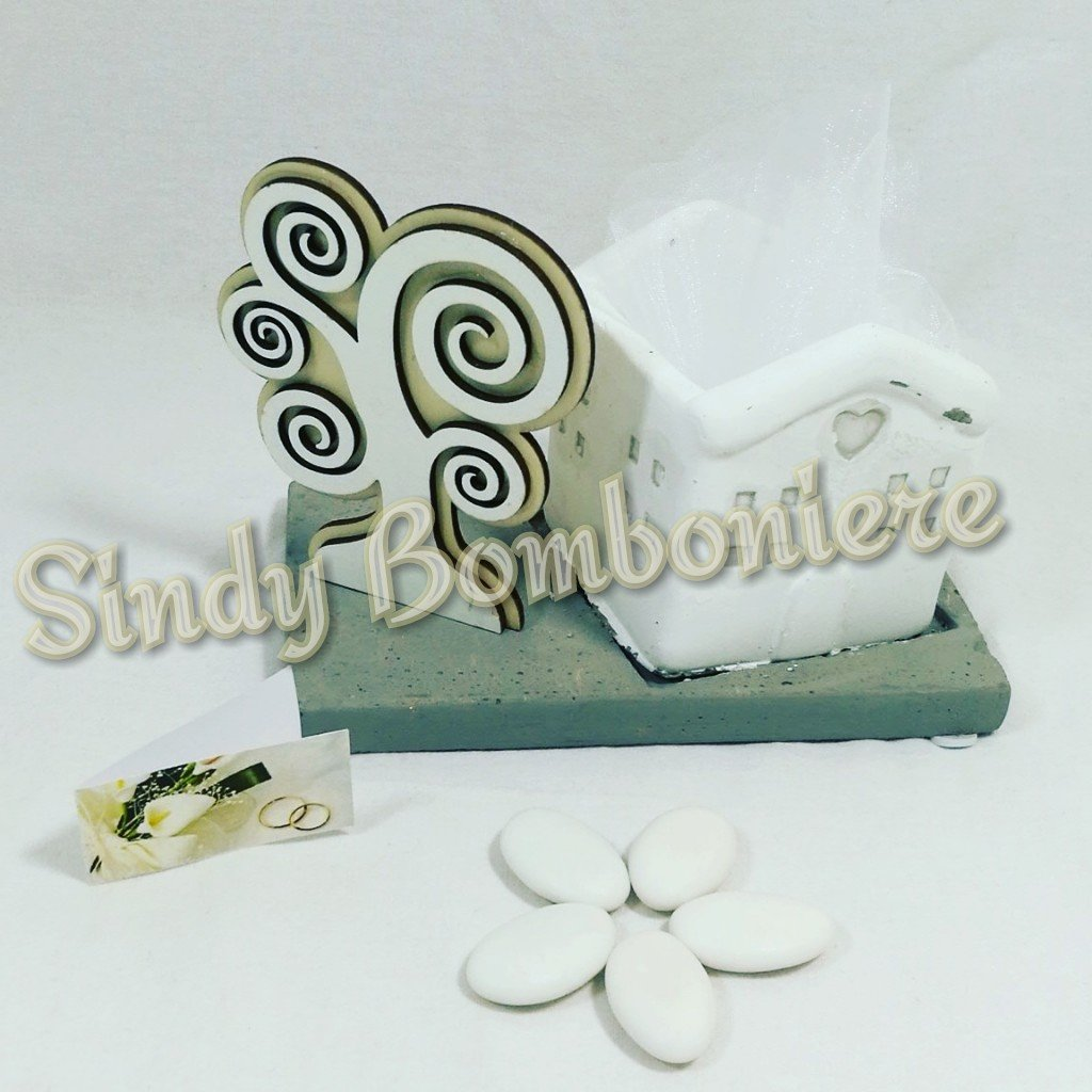 Sindy Bomboniere Bombonera boda aniversario de bodas Novios Base con Caseta Blanca Árbol de la vida: Amazon.es: Hogar