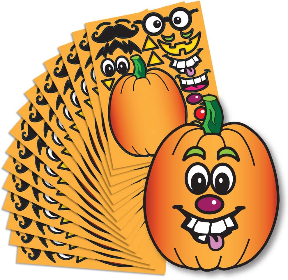 Colonel Pickles Novelties Create A Pumpkin Stickers - 15 Full Size Pumpkin Face Craft Sticker Sheet Halloween Crafts for Kids