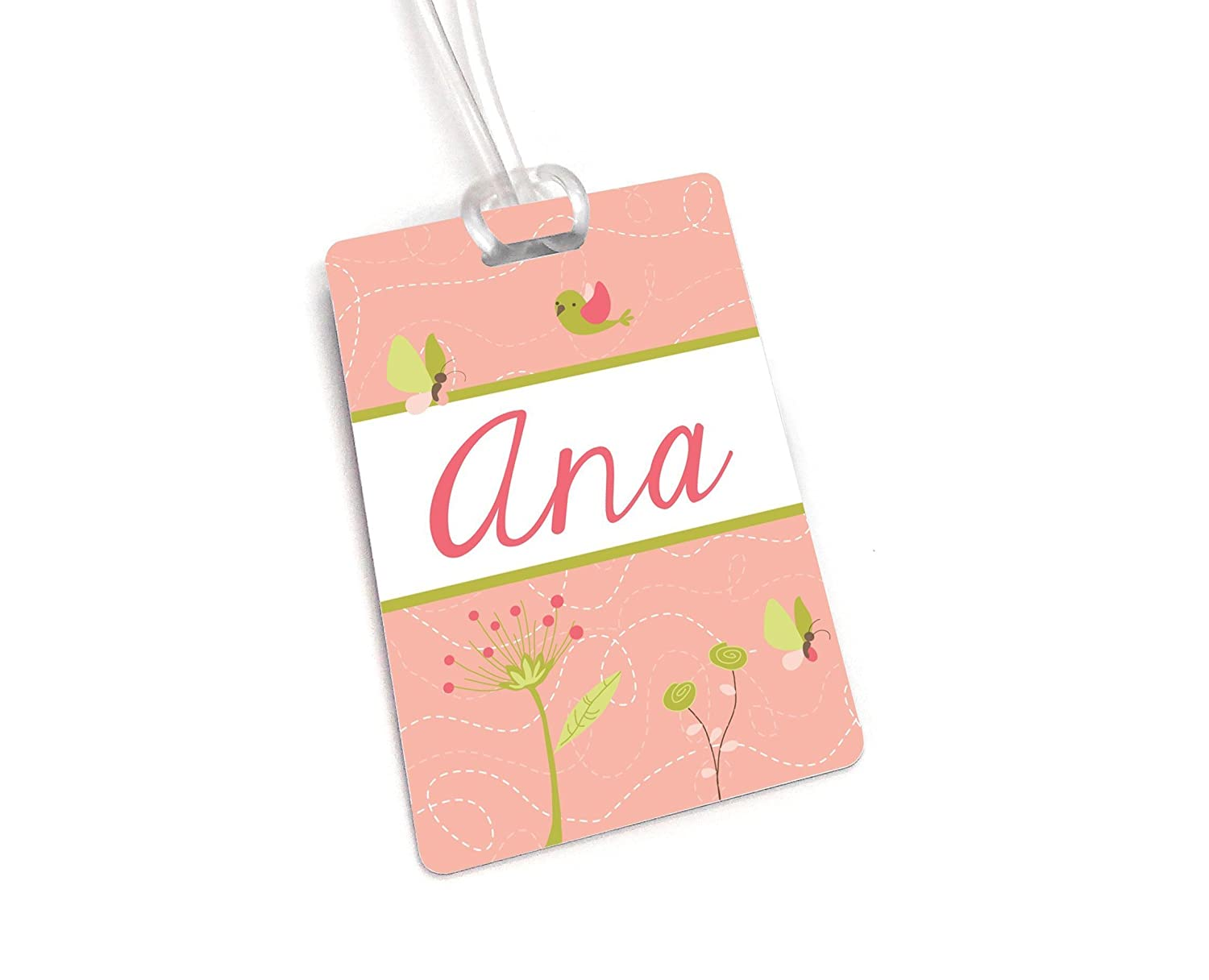 Bird Theme in Coral Accents Personalized Backpack Tag, Girls Name Lunchbox Label