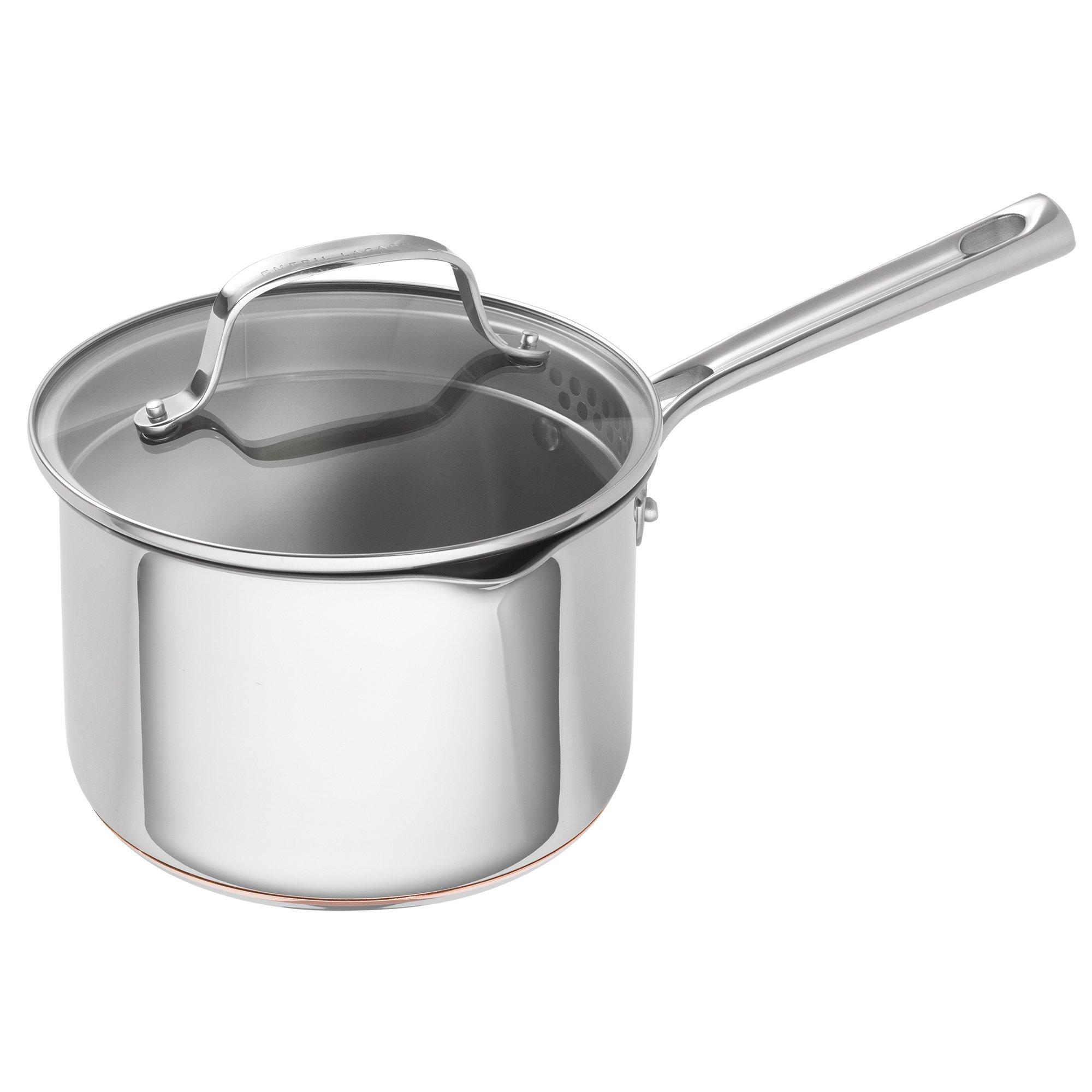 Emeril Lagasse 62897 copper core cookware stock pot, 3 quart, Silver