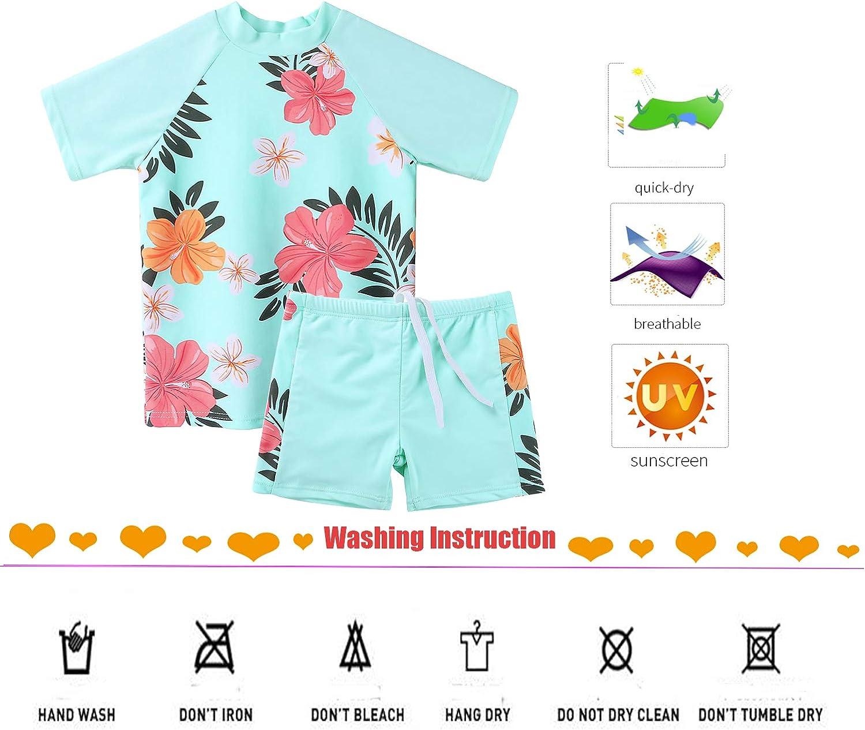ZNYUNE Little Girls Long Sleeve Rash Guard 2-Piece Swimsuit Set UPF 50 Quicky Drying Kids Swim Shirt for 3-10Years