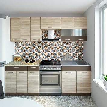 Neu küche sevilla braun 230 cm einbauküche küchenzeilen küchenblock küchenmöbel