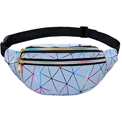 LIVACASA Riñoneras Mujeres de Moda Riñoneras Deportivas Impermeables Plegable Brillante Bolsas de Cintura Running Paseo de Marcha PU Material Unisex Azul