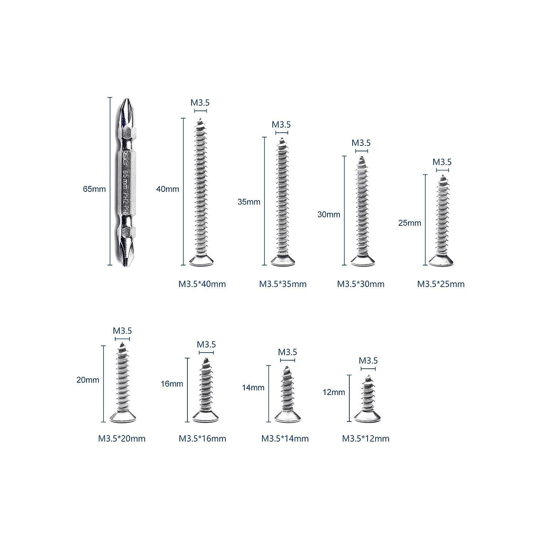 NINDEJIN 282Pcs Alloy Steel Flat Head Self Tapping Screw Phillips Wood Screws Drywall screw Assortment Kit Set with Cross-Head Batch (Black)M3.5