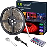 LE 12V DC Waterproof RGB LED Strip Lights Kit,150 Units SMD 5050 LEDs, 5m LED ribbon,44 Key IR Remote Controller and Power Adaptor Included, Multi-coloured LED Tape, TV Christmas Decoration Lighting