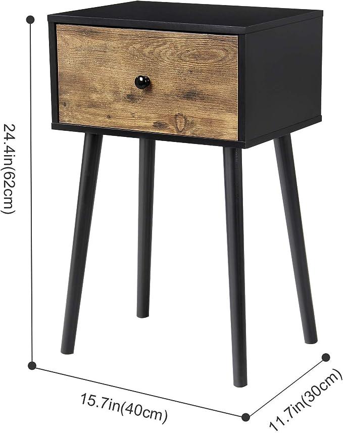 Lifewit Petit Meuble de Rangement avec Cadre Table de Nuit Vintage