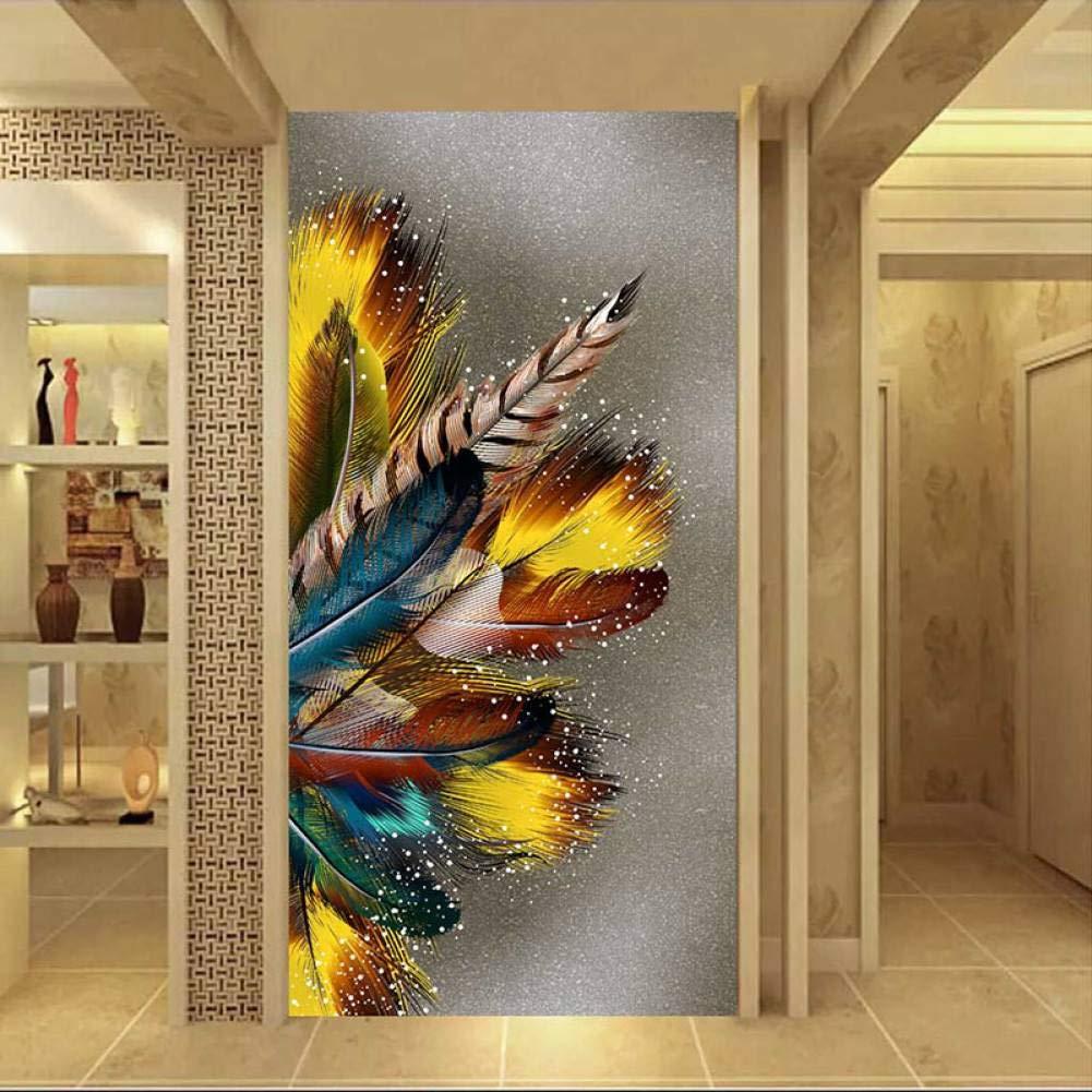 YCOLLC Pittura su Tela Immagini a Parete di Grandi Dimensioni Stampa di Piume Dorate Poster Quadri Astratti su Tela per Livingom Senza Cornice