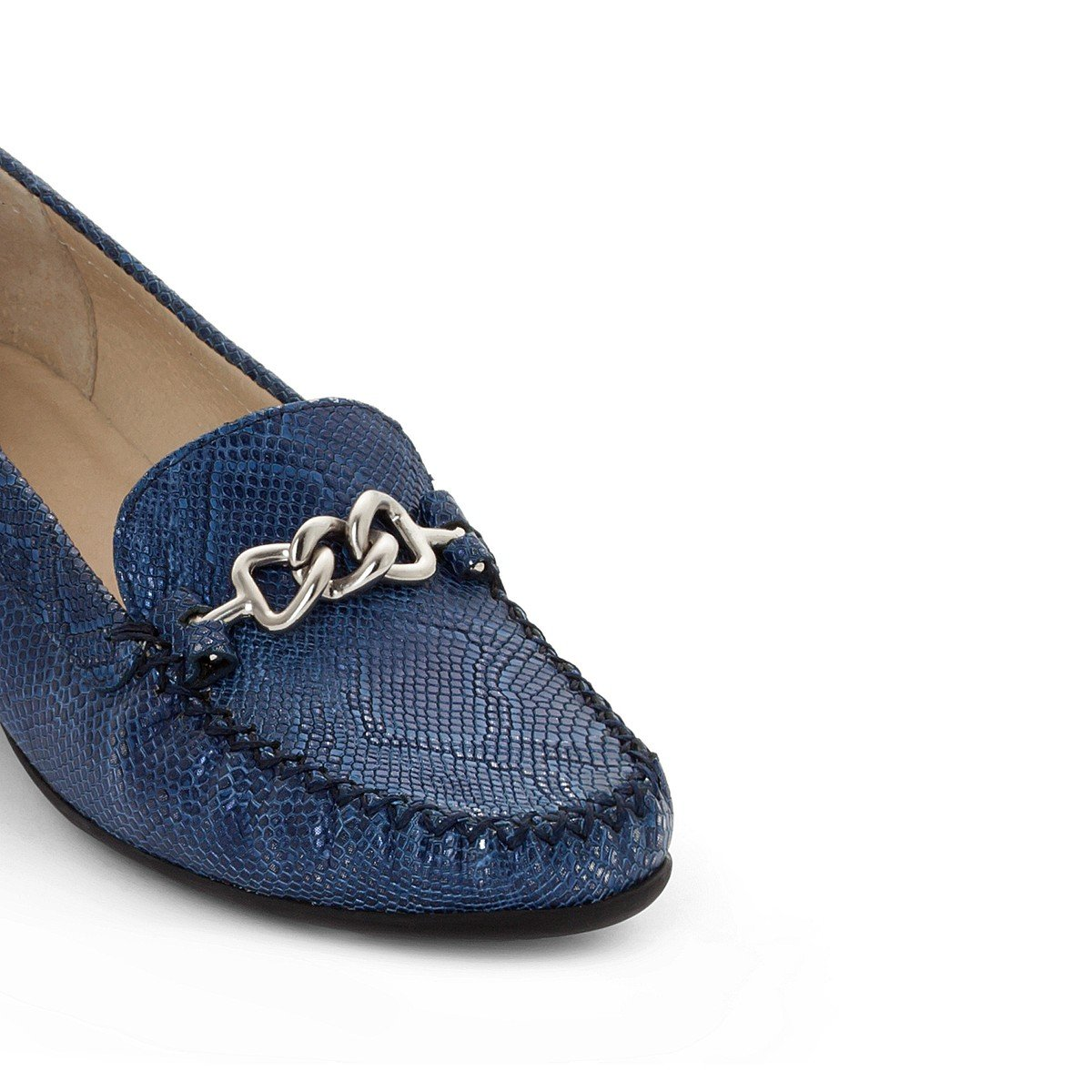 La Redoute Womens Snake Print Leather Wedge Loafers Blue Size 42 ANNE WEYBURN 6275015-000-1182789-00042-1