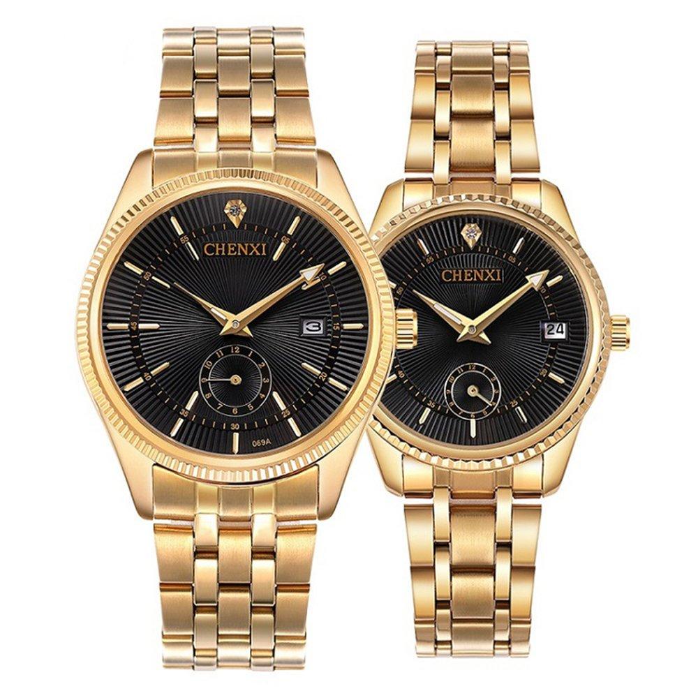 Couple Watches Dress Wrist Watch Golden Watch Men Women Stainless Steel Waterproof Quartz Watch Gift Set (Black)