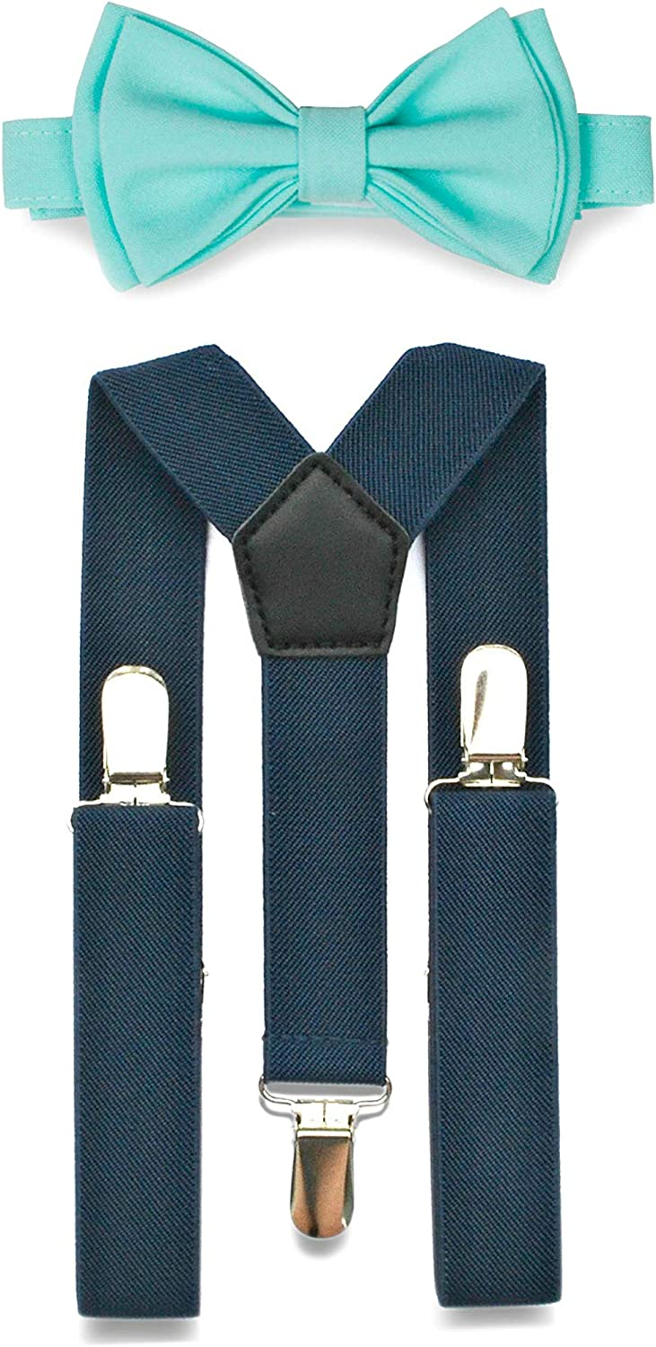 New Navy Blush Pink Suspenders Bow Tie Matching Set Wedding Prom USA SELLER