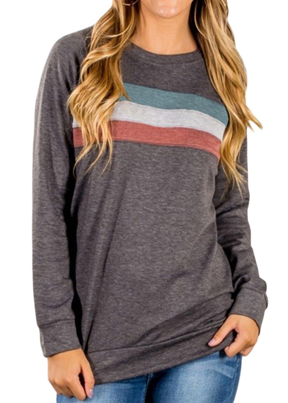 Shawhuwa Womens Casual Long Sleeve Loose Crewneck Sweatshirt Blouse Top XL Dark Grey