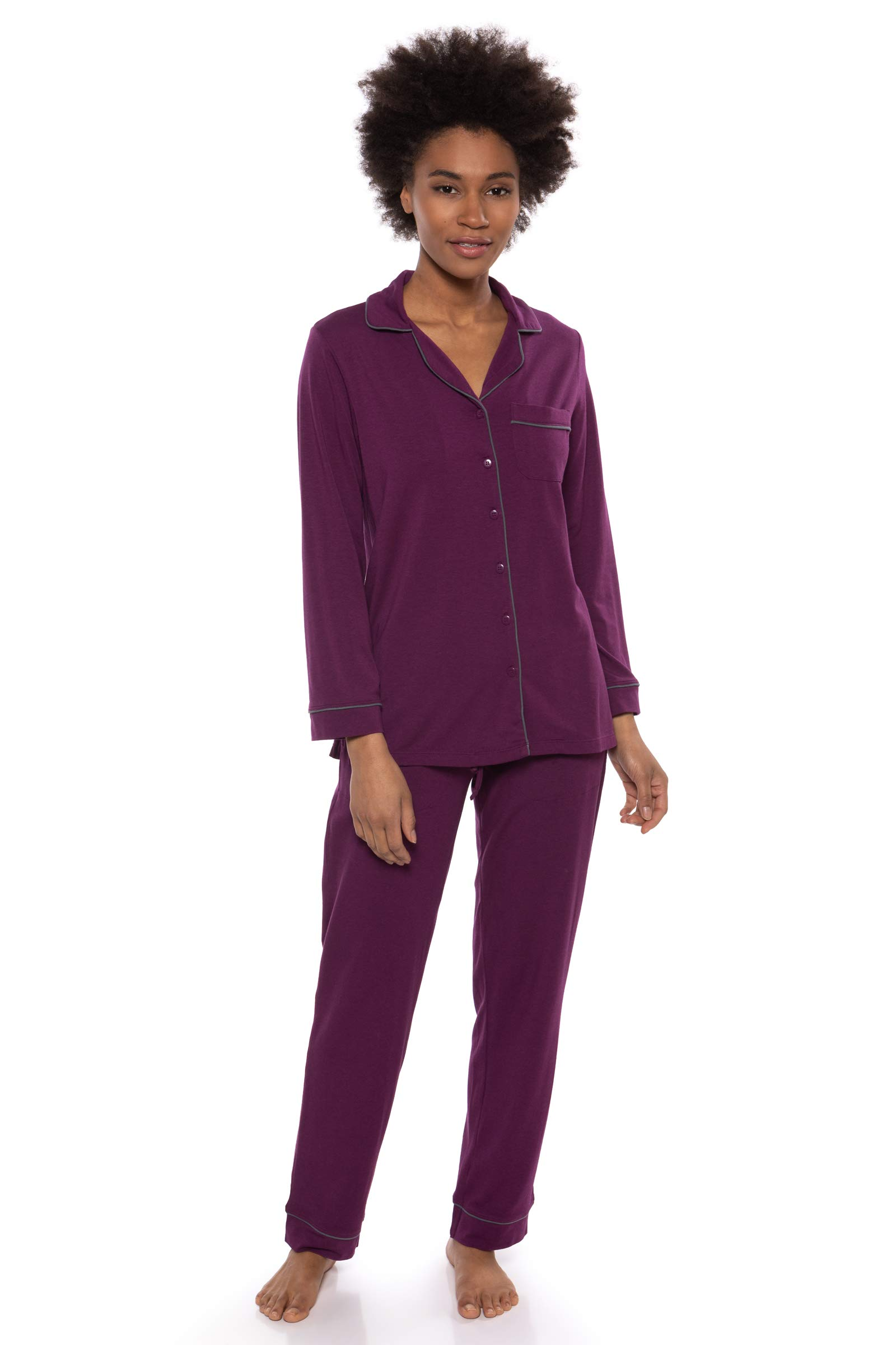 Texere Women's Button-Up Long Sleeve PJs (Classicomfort, Concord Grape, MP) by TexereSilk