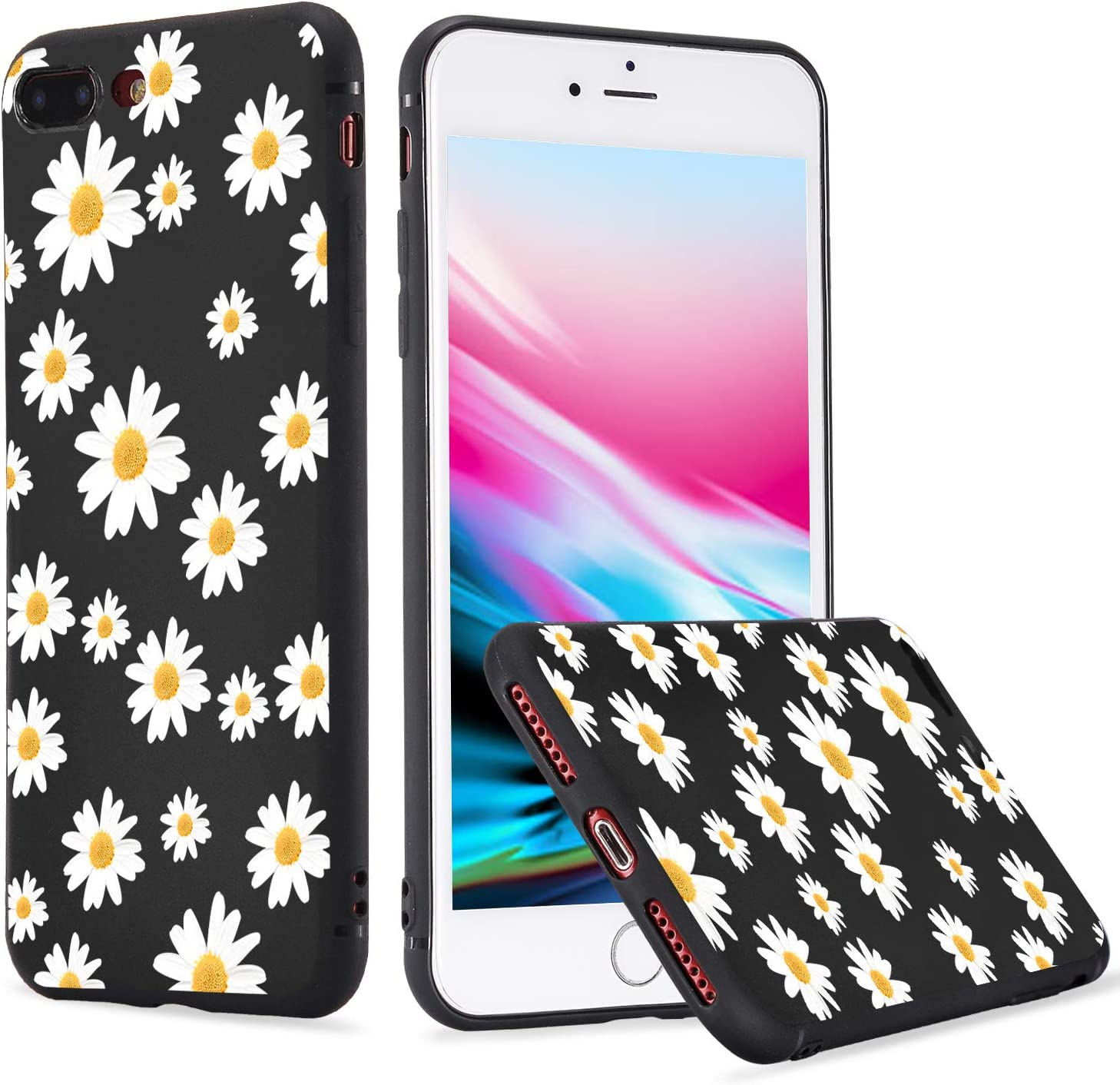 LuGeKe Dasiy Case for iPad 10.2 inch 2019 iPad 7th Generation,Floral Patterned iPad Case Cover,Lightweight Slim Standing iPad Cover for Girls Women,Cute Daisy