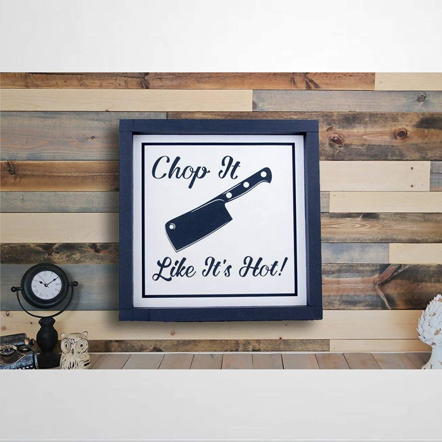 DONL9BAUER Chop It Like It's Hot Framed Wooden Sign with Quotes & Sayings Wood Sign Kitchen Wall Hanging Home Decor for Living Room