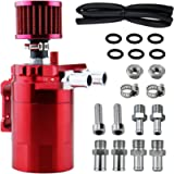 BOWERKAR 350ml Oil Catch Can Tank with Breather Aluminum Polish Baffled Oil Separator Filter (RED)