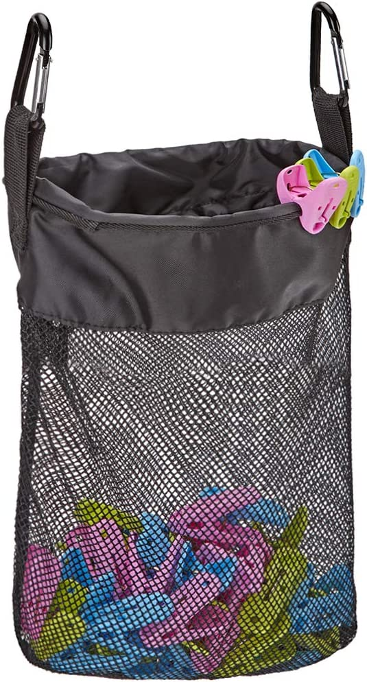 HOMEST Mesh Clothespin Bag, Hanging Clothes Pin Bag with Drawstring, Storage Organizer with Hook, Machine Washable, Black, (Patent Pending)