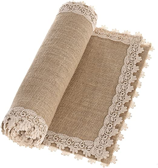 "Country Farmhouse HOME GROWN 36/"" BURLAP TABLE RUNNER"