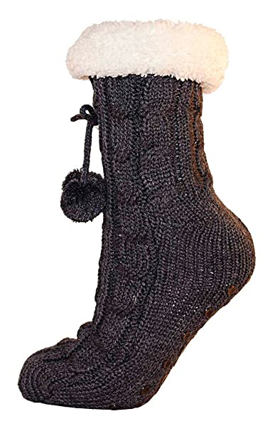 11475cf12d17f Ladies Cable Knit Slipper Sock Furry Fleece Lined Warm Non-Slip Bootee  Pompom