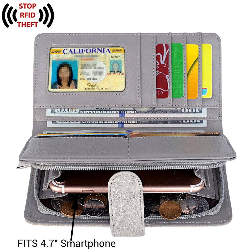UTO Women PU Leather Wallet RFID Blocking Large Capacity 15 Card Slots Smartphone Holder Snap Closure D Grey by UTO (Image #2)