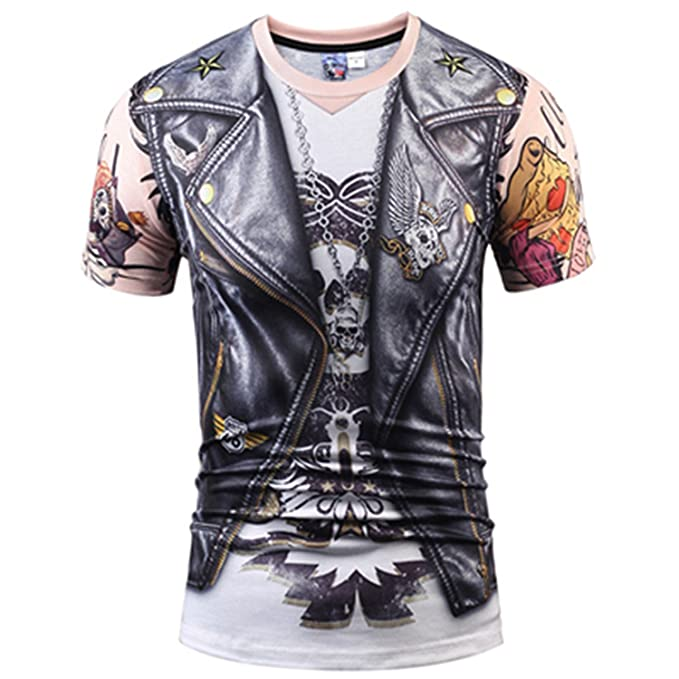 Men T Shirts 3D T Shirt Skull Short Sleeve Hip Hop Fashion Tee Shirt 1 S