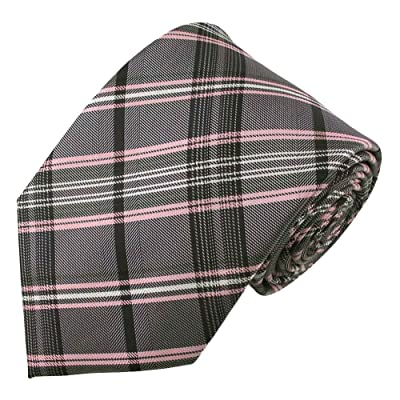 Absolute Stores Boy's Prep Pink & Grey Plaid Tie