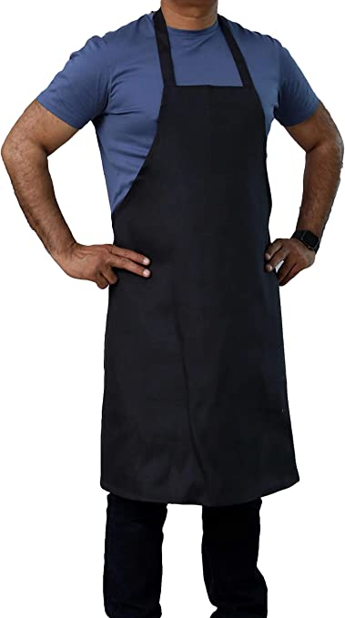 Full Length Apron Chef Kitchen Bib With Pocket Restaurant Cooking Cover BLACK