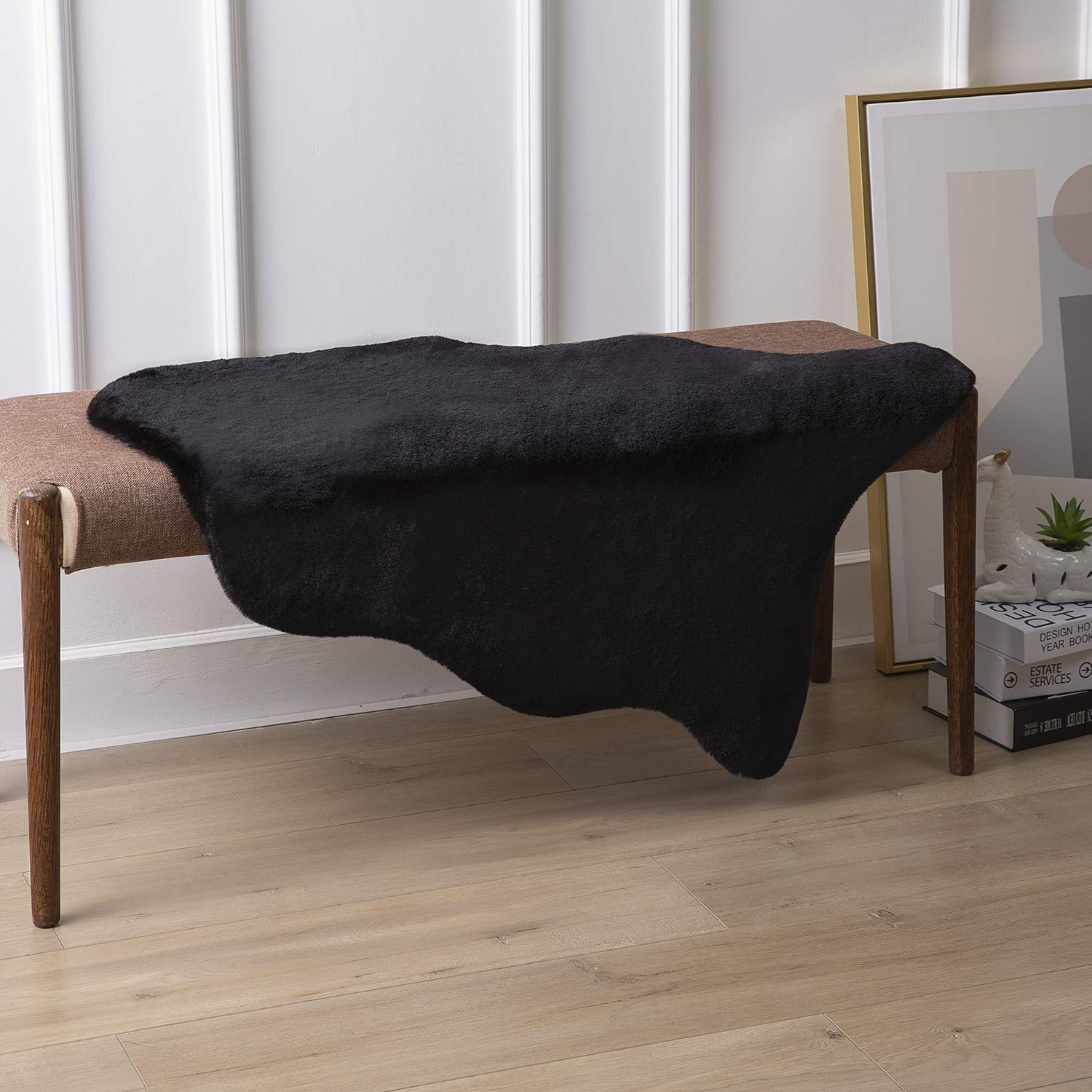 Ashler Soft Faux Rabbit Fur Chair Couch Cover Area Rug for Bedroom Floor Sofa Living Room Black 2 x 3 Feet