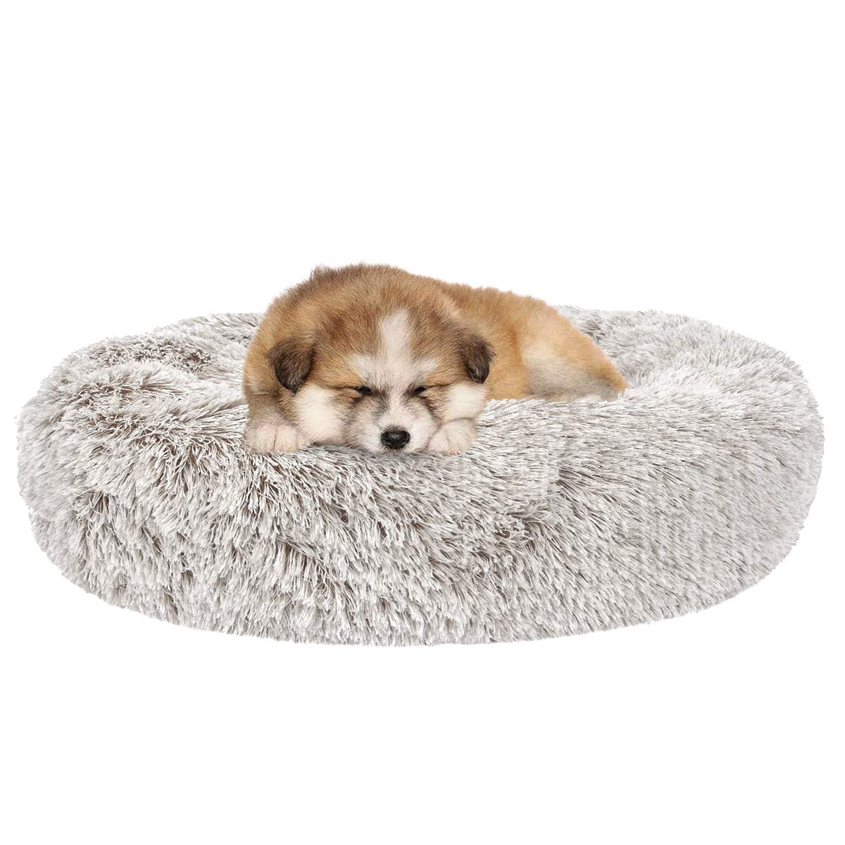 SHU UFANRO Dog Beds for Large Medium Small Dogs Round, Cat Cushion Bed, Calming Pet Beds Cozy Fur Donut Cuddler Improved…