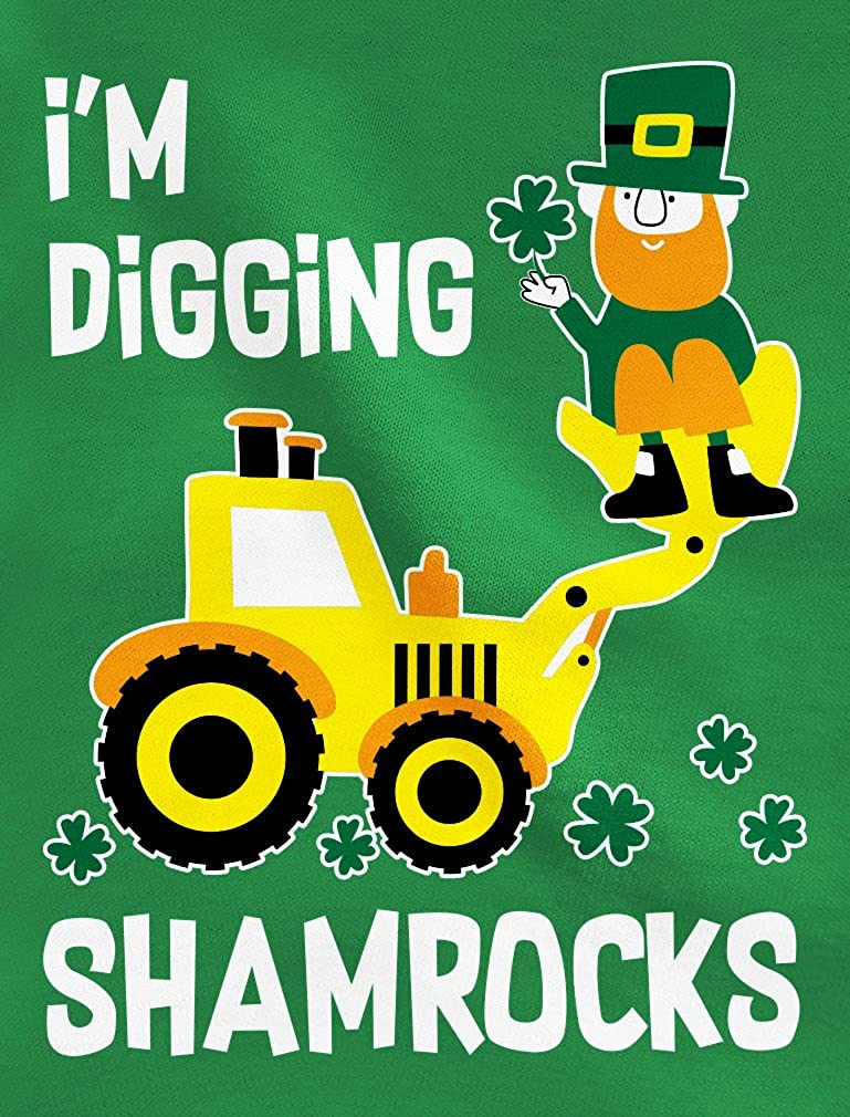 Tstars Im Digging Shamrocks St Patricks Tractor Toddler Kids T-Shirt
