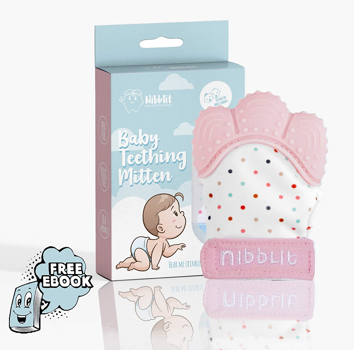 Nibblit Baby Teething Mitten | Self-Soothing Pain Relief Teether Toy Mitt & Glove