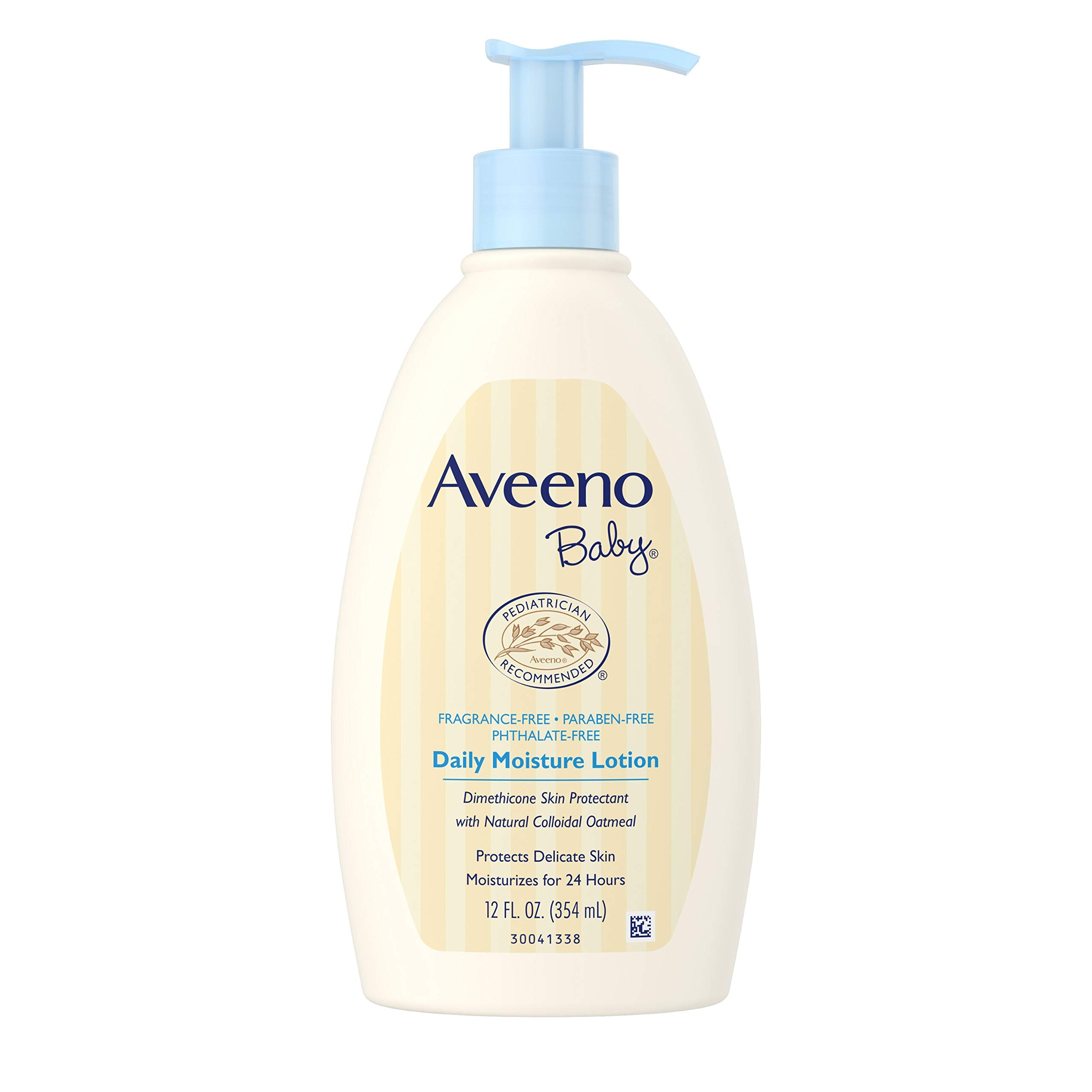 Aveeno Baby Daily Moisture Lotion with Natural Colloidal Oatmeal & Dimethicone, Fragrance-Free, 12 fl. oz (Pack of 6) by Aveeno Baby