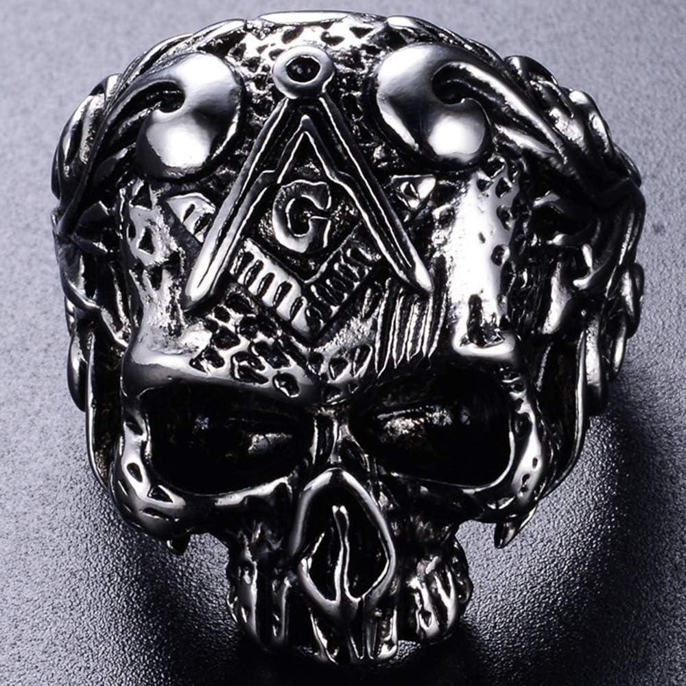 Jude Jewelers Stainless Steel Gothic Skull Vintage Masonic Biker Ring