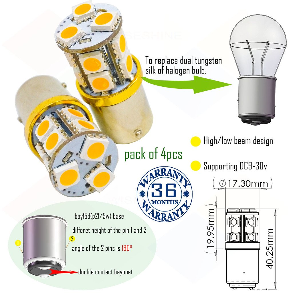 Wiseshine 1156 dome p21w r5w r10w ba15s 1195 12088 1141 1073 1156 1003 7506 s25 led bulb DC9-30v 3 years quality assurance (pack of 4) ba15s 13smd 5050 Warm white Wiseshine Technology Co. Ltd