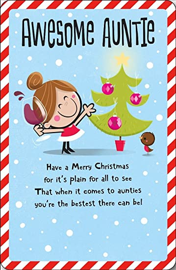 Awesome Auntie Christmas Greeting Card Embellished Dib Dab Xmas Cards