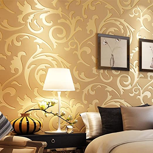 3D Victorian Damask Embossed Damask Wallpaper Luxury Metallic Texture Rolls Home