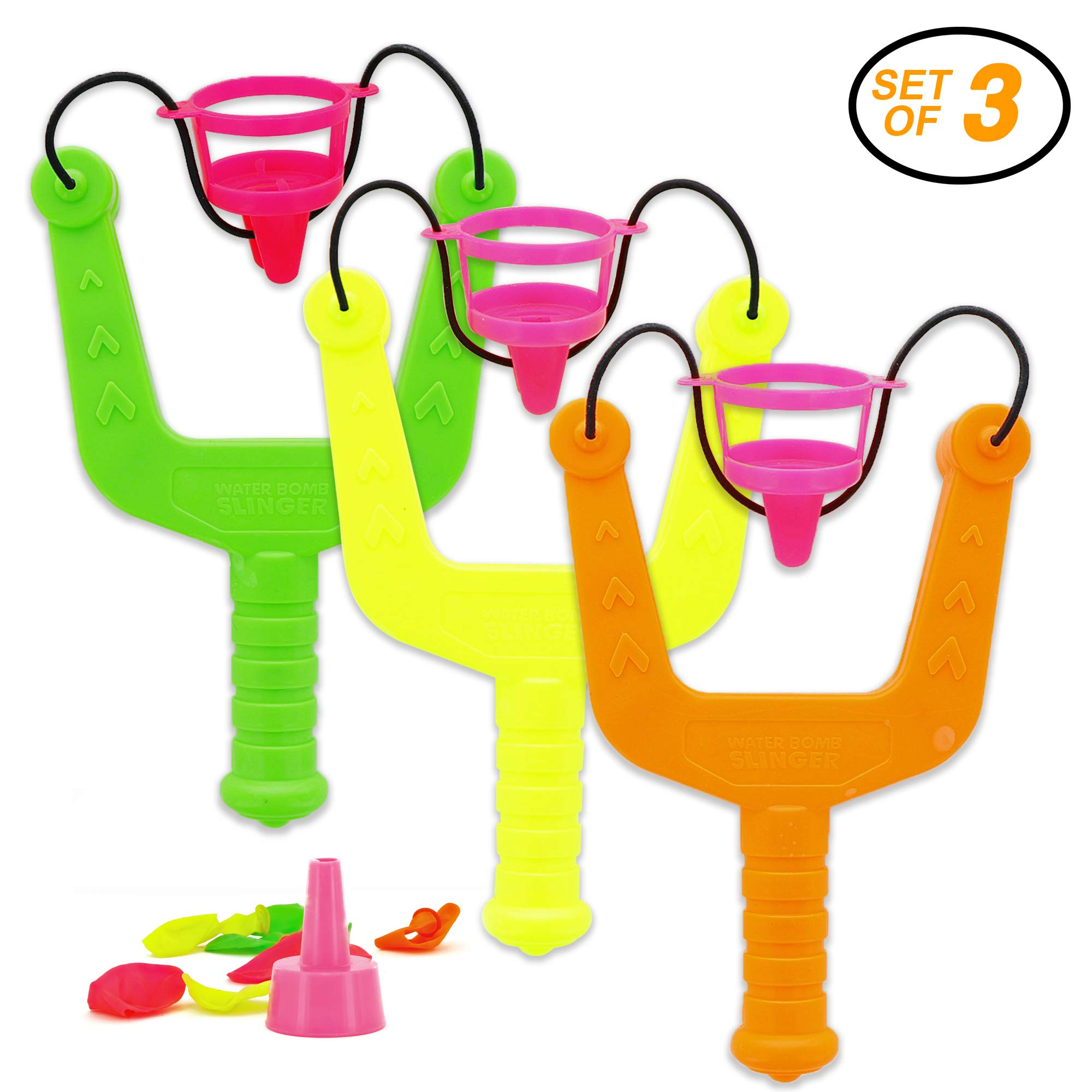 Srenta 8-Inch Kids Toy Water Balloon Launcher, Epic Fight 10 Balloons and Slingshot, Pack of 3 by Srenta