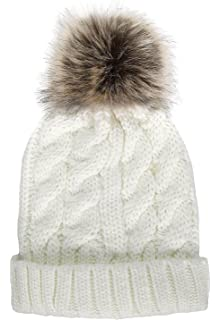 f679e6dac37 EPGU Women s Heathered Cable Knit Pom Pom Beanie Hat With Sherpa ...