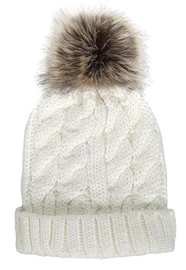 Women Winter Warm Knitted Faux Fur Pom Pom Beanie Hat Cream at ... 59fcacfa52c