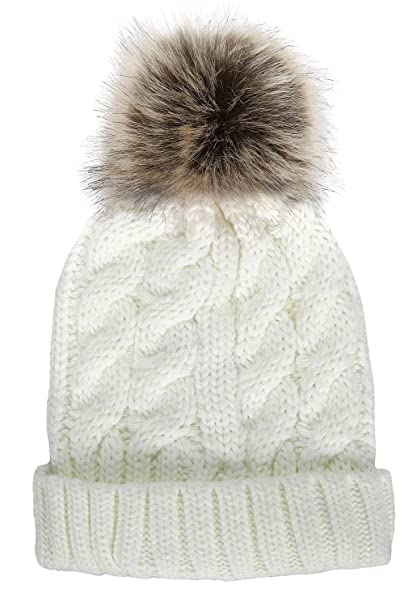 ef20ebc06b457 Women Winter Warm Knitted Faux Fur Pom Pom Beanie Hat Cream at ...