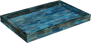 Handicrafts Home Verdigris Trays – Ideal Ottoman Tray – Multipurpose Bone Inlay Serving Tray or Simply Use as a Decorative Tray 11X17