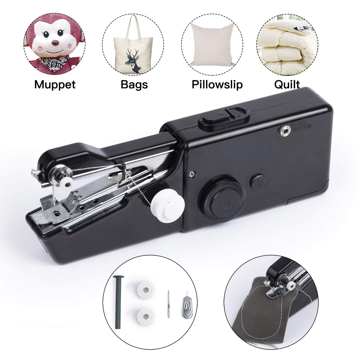 Handheld Sewing Machine Portable Hand Sewing Machine FineWish Cordless Stitching Machine Mini Stitch Craft Machine DIY Home Travel for Fabric Clothing Kids Cloth Pet Clothes (Battery Not Included) by FineWish