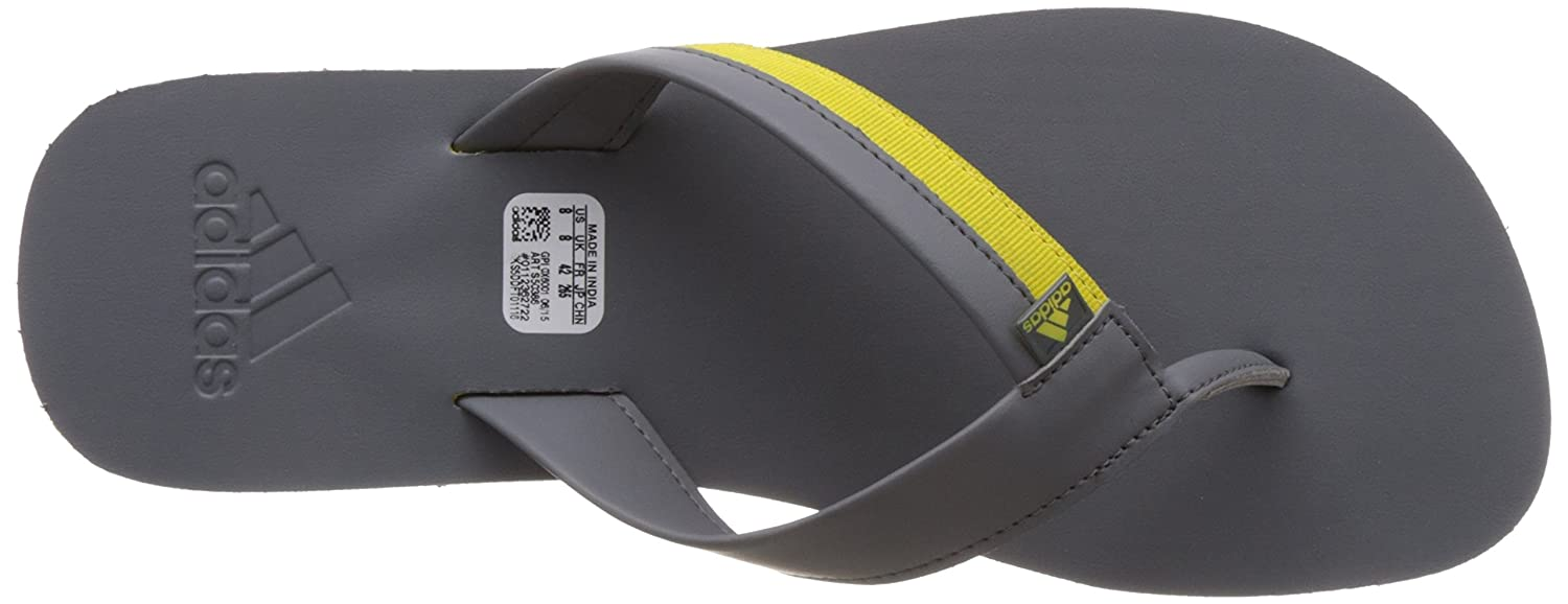 74108c21536 Adidas Men s Brizo 3.0 Grey and Bright Yellow Flip-Flops and House Slippers  - 11 UK India (46 EU)  Buy Online at Low Prices in India - Amazon.in